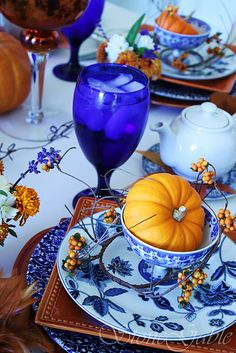 Fall tablescape using navy blue and bittersweet colors, would look good with the Imari