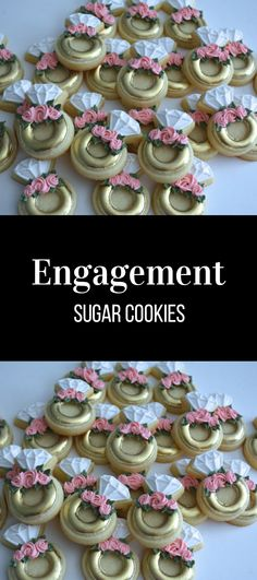 Two Dozen Mini Rings Sugar Cookies - Wedding Cookies - Bridal Cookies - Engagement Gift - Sugar Cookies #affiliate