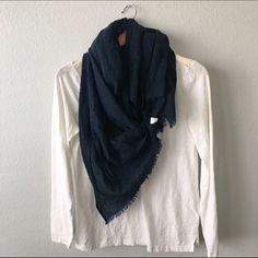 LINEN SCARF Indigo linen frayed scarf. BEAUTIFUL fabric Lou & Grey Accessories Scarves & Wraps