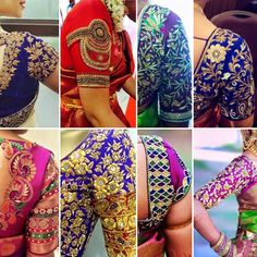 blouse embroidery sleeves design new pattern Blouse Back Neck Designs, Saree Blouse Designs, Designer Blouse Patterns, Work Blouse, Sleeve Designs, Hand Embroidery, Pattern Design, Sleeves, Clothes