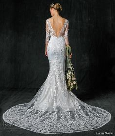 sareh nouri fall 2017 bridal three quarter sleeves illusion v neck sweetheart neckline full embellishment elegant mermaid wedding dress low back chapel train (vienna) bv
