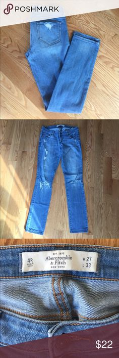 Abercrombie & Fitch Light Skinny Jeans Distressed and casual. Light wash. Lightly loved but no blemishes or stains. Light blue classic pocket detail. Abercrombie & Fitch Jeans Skinny