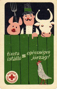 Magyar Vöröskereszt (tiszta istálló, egészséges jószág) – 1964   Kártyanaptárak