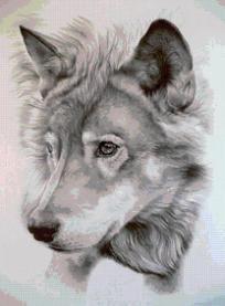 Wolf cross stitch pattern~Email Only~PDF