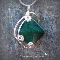 Green Malachite Wire Wrapped Pendant Necklace in Silver by CareMoreCreations.com, $29.00