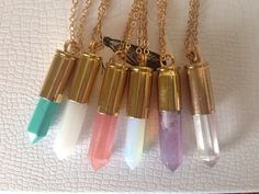 Bullet shell crystal necklaces by nightmarianne on Etsy