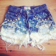 DIY studded , ombre shorts (;