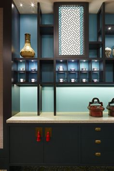 Mings Dim Sum restaurant at Crown Casino by Red Design Group, Melbourne store design Bar Interior, Restaurant Interior Design, Kitchen Interior, Chinese Interior, Chinese Restaurant, Noodle Restaurant, Red Restaurant, Oriental Design, Oriental Style