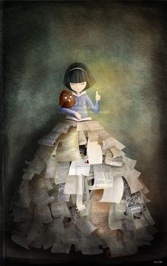 girl with books in- toiabates by *childrensillustrator on deviantART