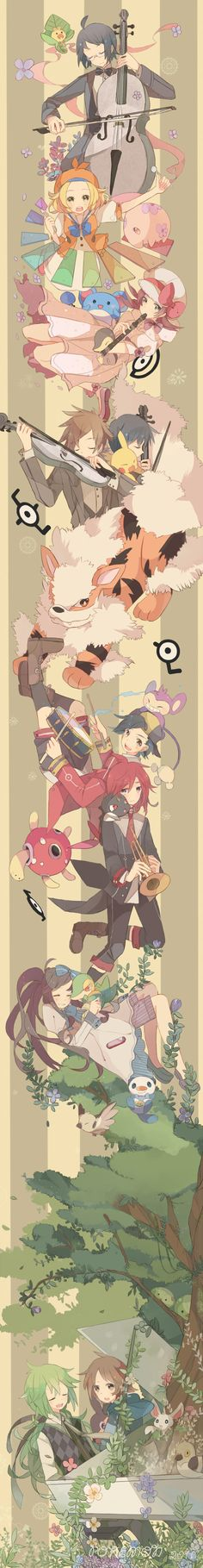 Each of the characters plays an instrument. THEY FORM A BAND!!!!!!!!!!!!!!!!!!!! LOL!!! xD I'M DIEING AT HOW STUPID I CAN BE!
