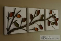 Wall art using sticks and toilet paper rolls
