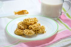Microwave PB Cookies | 1T. pb/prepared PB2, 3T. milk, 2T. flour, 1/4t. vanilla, 1/8t. baking powder | Blend pb and some milk; blend with other ingredients until dough-like consistency; form into cookies and microwave for 45-60 seconds