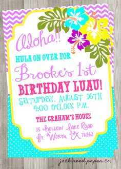 Nealon Design LUAU Birthday Invitation First Birthday Luau