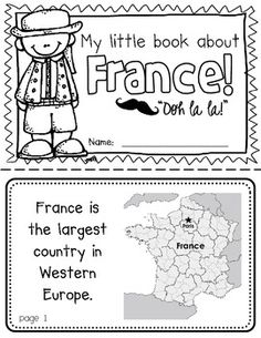 France Booklet (a country study!)-- Use during social studies units about countries around the world! TeachersPayTeachers
