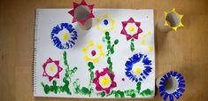 Blumenstempel aus Klopapierrollen
