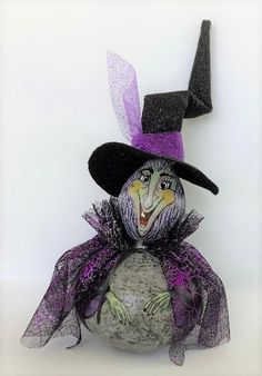 Painted Gourds, Witch, Hand Painted, Halloween, Witches, Witch Makeup, Wicked, Maleficent, Spooky Halloween