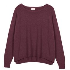 Morning Delight Jumper ($71) ❤ liked on Polyvore featuring tops, sweaters, shirts, jumpers, crewneck shirt, cuff shirts, knit crew neck sweater, knit shirt and purple shirt