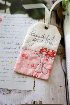 Bookmark with free motion stitched words. What a great idea!