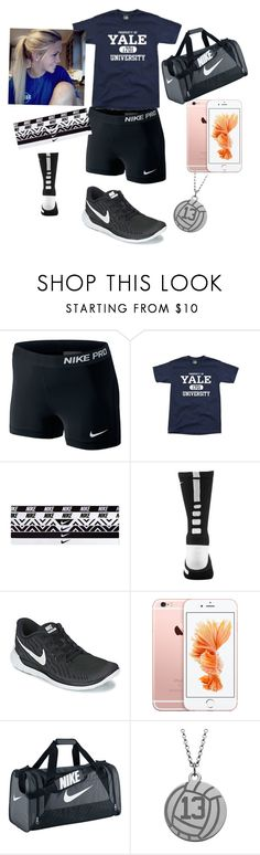 Volleyball practice at Yale tonight by missylanning ❤ liked on Polyvore featuring NIKE