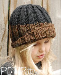 Knitting PATTERN-The Slate Cap Toddler Child Adult sizes