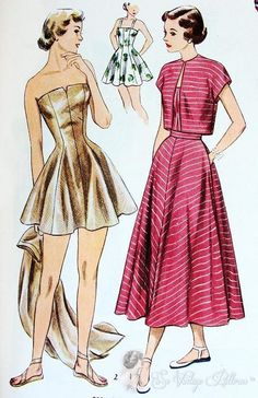 1940s bolero cape patterns | 1940s Sizzling Glam Strapless Princess Bathing Suit Pattern Includes ...