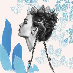 Steg Queen Illustration by Vanessa Vanderhaven #vanessavanderhaven #stegosaurus #braids #hair #model #realism #paint #watercolour #illustration #drawing #art #inspire #fashion