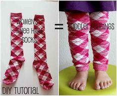 Women's knee high socks make great toddler leggings. | 24 Creative Life Hacks Everyone Should Know Before Winter Comes