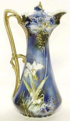 A rare R. Prussia cobalt chocolate pot having a leaf mold with applied gilt handle, decorated with royal blue & yellow stemmed flowers, gold highlighted green leaves, accented with gold flower finial, signed with the red & green wreath mark. Vintage Dishes, Vintage Tea, Vintage Perfume, Art Nouveau, Deco Retro, Gold Highlights, Chocolate Pots, Russian Chocolate, Dove Chocolate