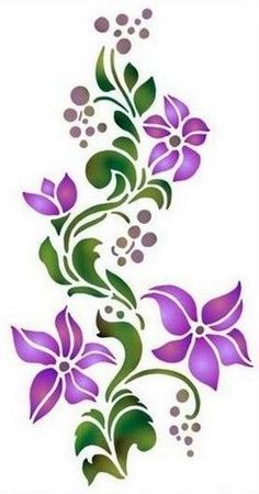 ideas for painted rocks flowers Stencil Patterns, Stencil Art, Stencil Designs, Embroidery Patterns, Hand Embroidery, Machine Embroidery, Flower Stencils, Stenciling, Flower Patterns