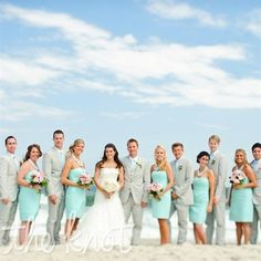 Light teal dresses and gray suits. :)