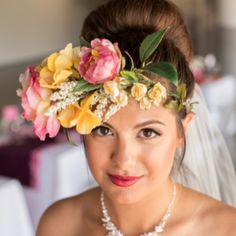 A colorful and modern museum wedding inspiration shoot with a must see floral crown from Huong Forrest Photography!