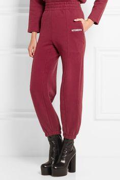 Vetements | Embroidered cotton-blend jersey sweatpants | NET-A-PORTER.COM