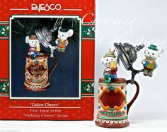 Enesco Guten Cheers Mice Treasury of Christmas Ornament Beer Stein 1st Holiday