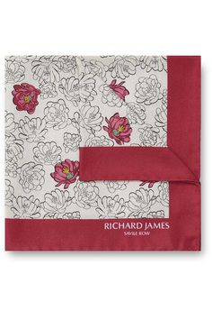 Contemporary Savile Row Tailors, Savile Row Bespoke, Custom-Made, Made-To-Measure Men's Suits | RED AND TAN DESERT FLOWER POCKET SQUARE - www.richardjames.co.uk