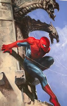 #Spider-Man #Fan #Art. (Spiderman up the Gargoyles) By: GabrieleDell'Otto. ÅWESOMENESS!!!™ ÅÅÅ+(FINALLY A CLEAN VERSION OF THIS! I FELL IN LOVE WITH THIS PIC THE FIRST TIME I SAW IT THANKS FOR REALISING IT DELL!).