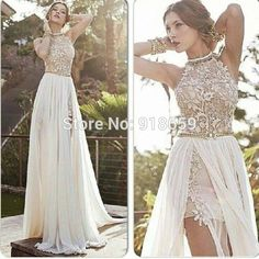 romantic-high-neck-lace-beaded-chiffon-high-low-white-prom-dress-2014-party-dress-ED1407