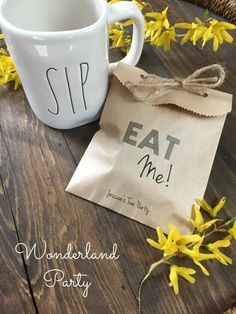 Wedding Paper Favor Bag. EAT ME Alice in Wonderland Themed Tea Party by SALTEDPrintingCo