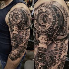 Shoulder tattoo - New Tattoo Models - Shoulder tattoo - Biomech Tattoo, Piston Tattoo, Cyborg Tattoo, Biomechanical Tattoo Design, Biker Tattoos, Badass Tattoos, Tattoos For Guys, Cool Tattoos, Motorcycle Tattoos