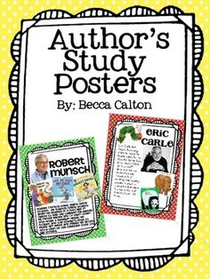 This pack is perfect for teaching younger students about famous authors and illustrators.  It includes 15 different author posters including:  Helen Lester David Shannon Margie Palatini Doreen Cronin Audrey Wood Robert Munsch Eric Carle Dr. Seuss Nick Bland Giles Andreae Laura Numeroff Jan Brett Eric Lutwin Kevin Henkes Mo Willems  In my classroom we focus on one author each month and read several books written by each author...