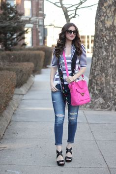 Striped Top, Pink LANY Bag, Ripped Jeans, Criss-Cross Wedge