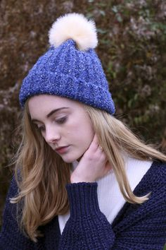 Chunky Knit Pom Pom Beanie Blue - THE WHITEPEPPER http://www.thewhitepepper.com/collections/cosy-winter-collection/products/chunky-knit-pom-pom-beanie-blue