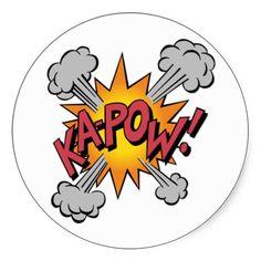 Ka Pow! Cartoon Round Stickers