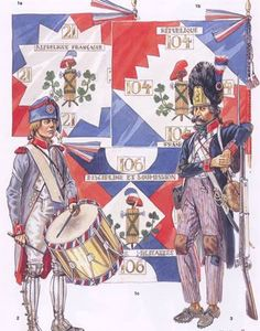 French infantry Demi Brigade, drummer and granadier. 1793