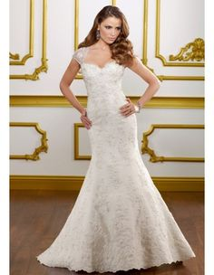 Mori Lee 1813 Fit and Flare Chapel Train Removable Cap Sleeves - A Line, Scoop