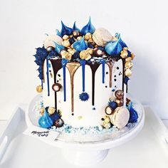Cake inspiration for my upcoming secret royal romance. She's a ripped jeans, no-nonsense baker who creates things of beauty just like these. Birthday Drip Cake, Blue Birthday Cakes, 18th Birthday Cake, Beautiful Birthday Cakes, Beautiful Cakes, Amazing Cakes, Birthday Cupcakes, Happy Birthday, Crazy Cakes