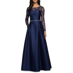 Alex Evenings Navy Lace And Taffeta Ballgown - Women's ($259) ❤ liked on Polyvore featuring dresses, navy, long sleeve dresses, navy blue long dress, navy lace dress, lace dress and long formal dresses