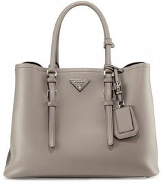 57f18d6200fb5c Prada Calf Leather Large Double Tote Bag, Clay (Argillo) #Pradahandbags  Prada Tote