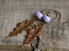 Love these earrings! Those leafs are fab!!!!! <3 Etsy listing at https://www.etsy.com/listing/198054307/orchid-leaves-copper-leaf-earrings-art