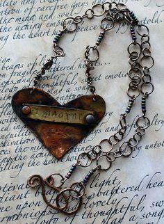 Flame Painted Copper Heart Pendant & Handmade by eccentricsunshyne