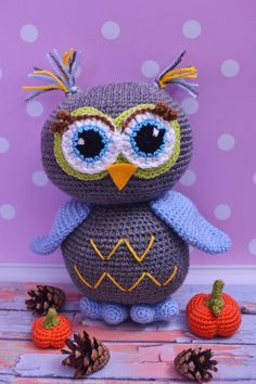 Crochet amigurumi owl Stuffed bird toy Crochet owl by AnnaHappydog